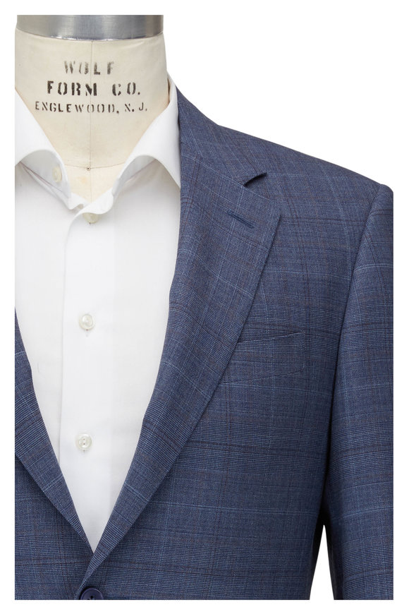Canali Light Blue Glenplaid Wool Suit