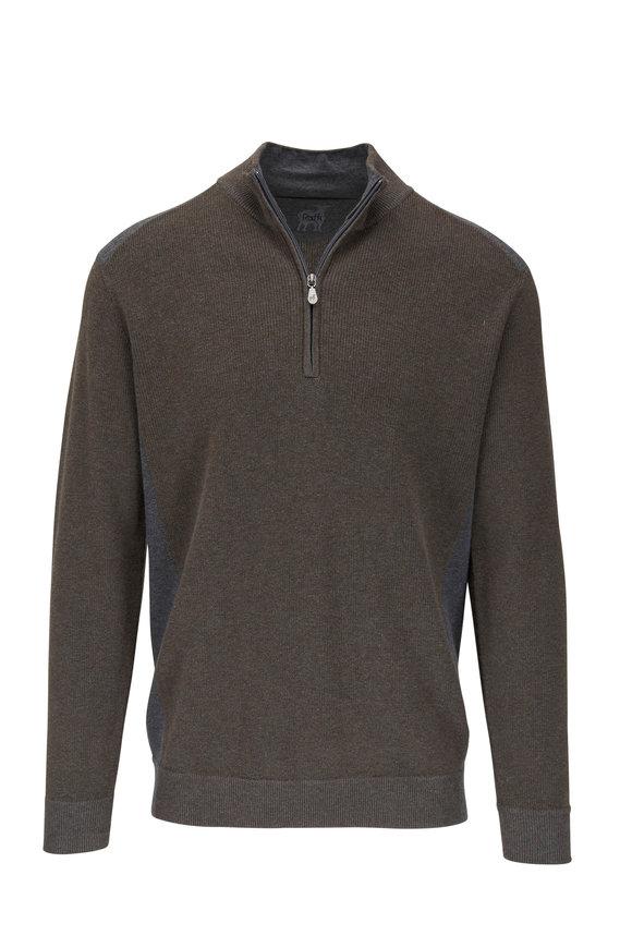 Raffi  Brown Cotton Quarter-Zip Pullover