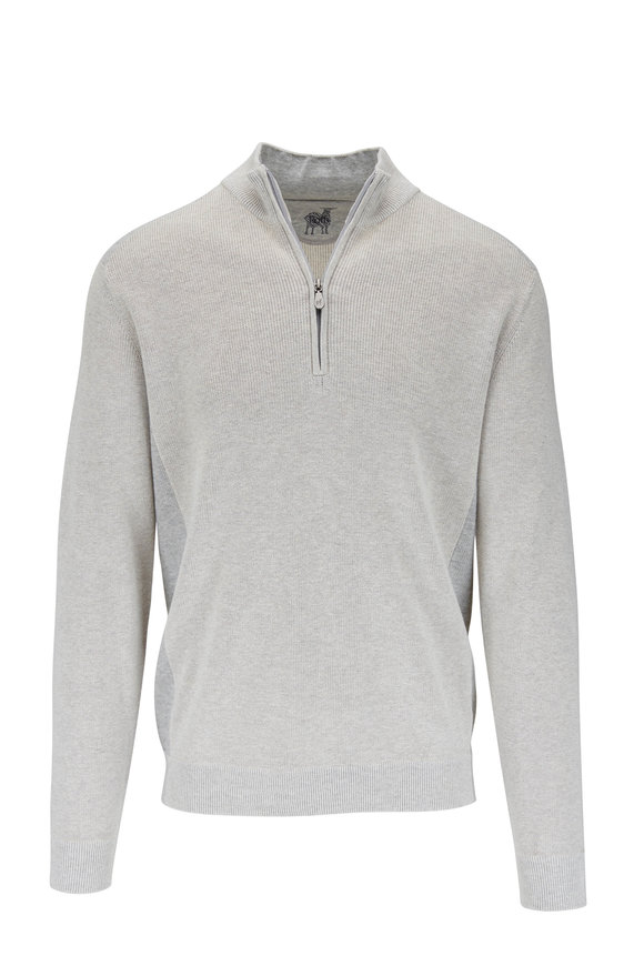 Raffi  Oatmeal Cotton Quarter-Zip Pullover