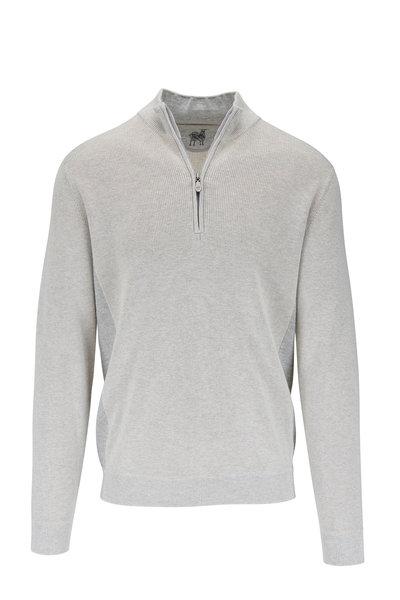 Raffi - Oatmeal Cotton Quarter-Zip Pullover
