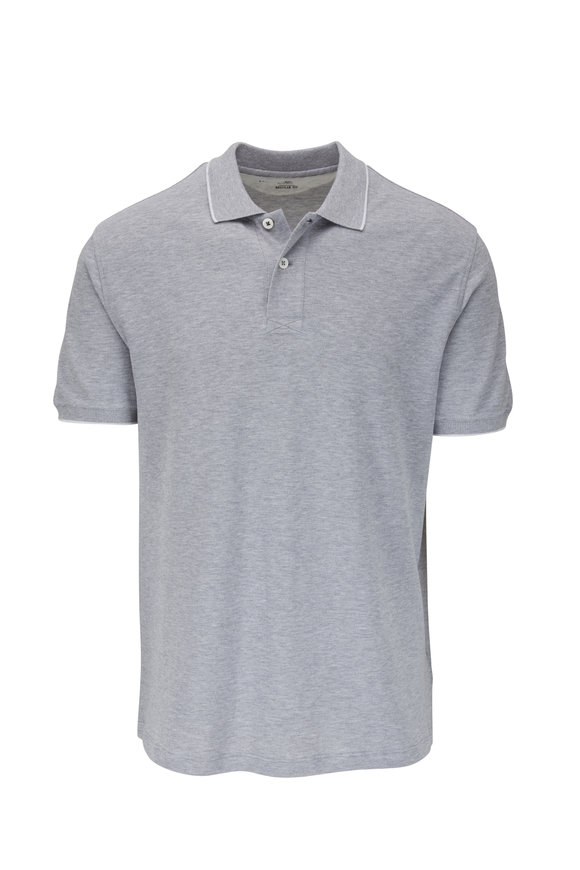 Brunello Cucinelli Gray Piqué Regular Fit Polo