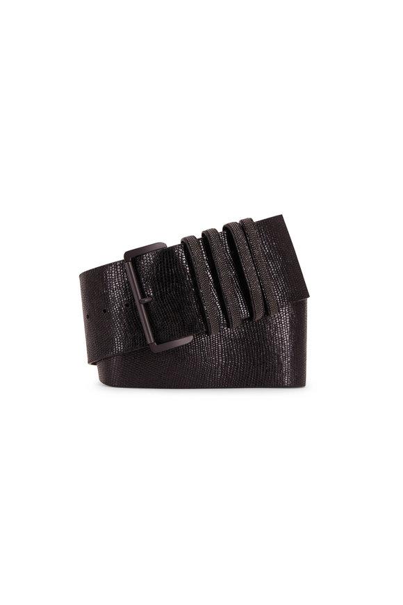 Brunello Cucinelli Black Embossed Leather Four Monili Loops Belt