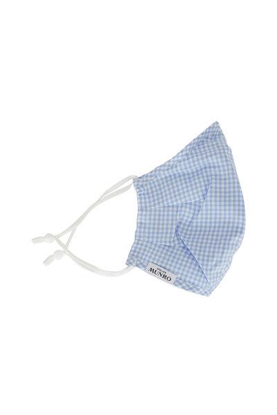 Atelier Munro - Light Blue Gingham Cotton Mask