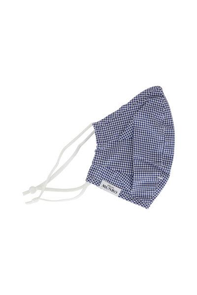 Atelier Munro - Navy Blue Gingham Cotton Mask