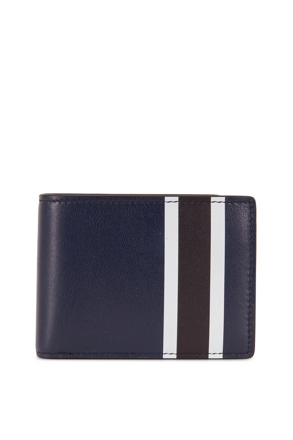 Shinola Navy Leather Striped Slim Bi-Fold Wallet