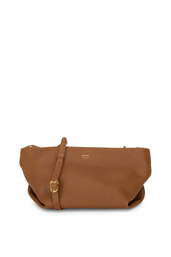 Khaite Adelin Caramel Leather Envelope Crossbody Bag