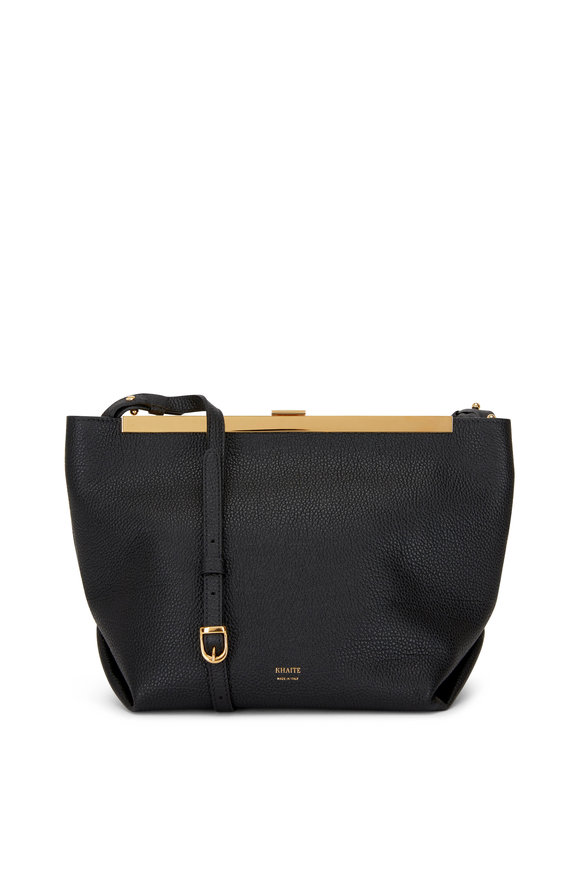 Khaite Augusta Black Leather Frame Envelope Crossbody Bag