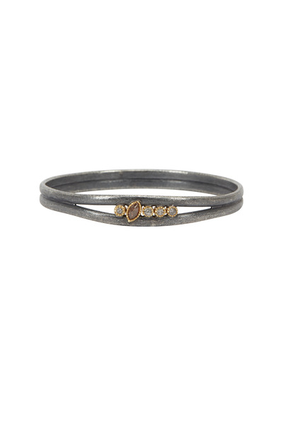 Todd Reed - Gold & Silver Marquise Diamond Bangle Bracelet