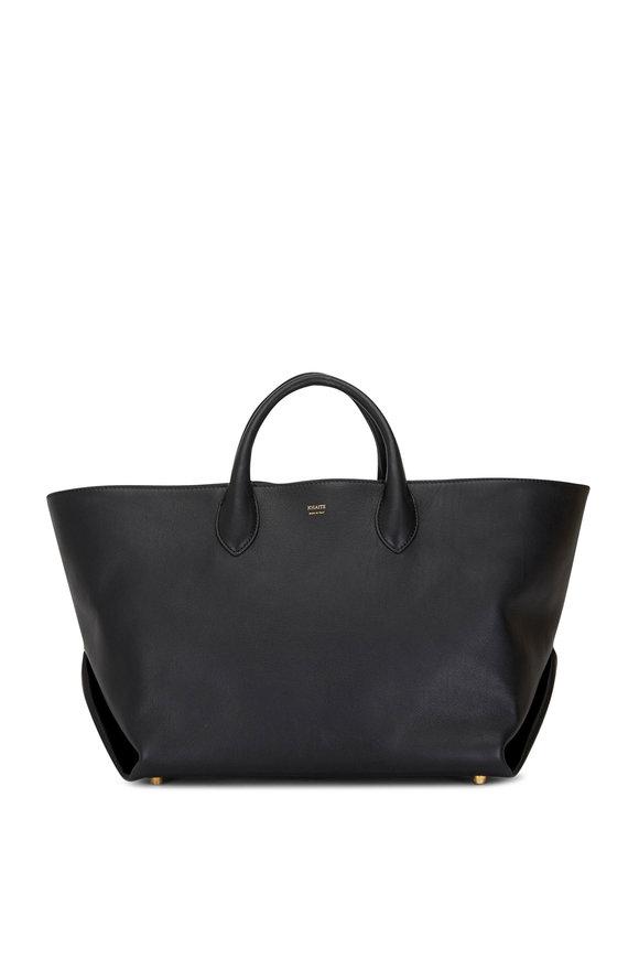 Khaite Amelia Black Leather Envelope Medium Tote Bag