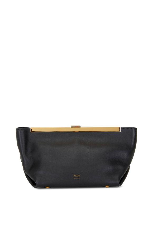 Khaite Aimee Black Leather Envelope Clutch