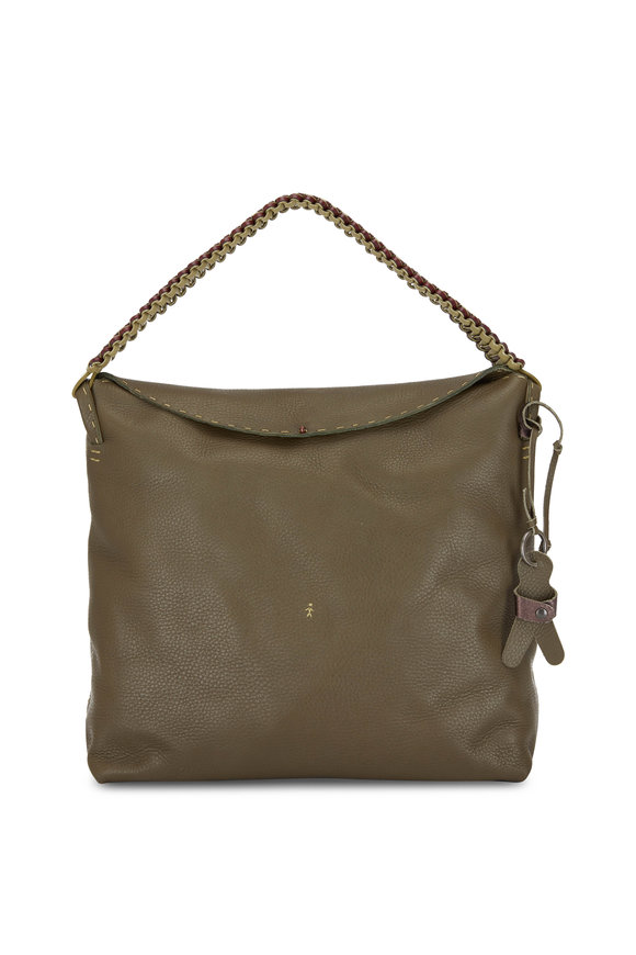 Henry Beguelin Isa Olive Leather Hobo Shopping Tote