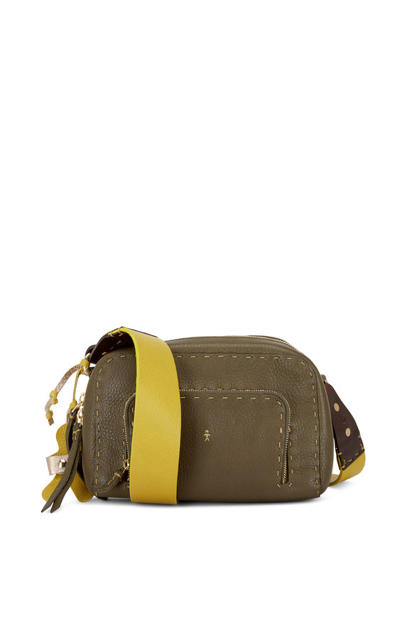 Henry Beguelin Trapezio Olive Leather Crossbody Bag