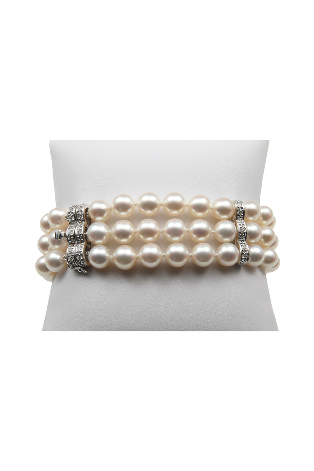 Three Row White Gold Diamond Pearl Bracelet
