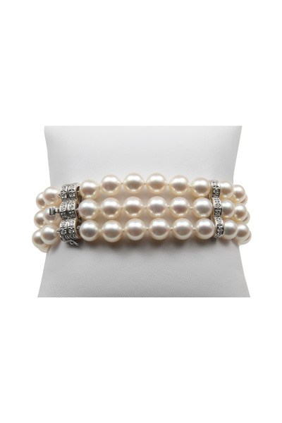 Assael - Three Row White Gold Diamond Pearl Bracelet