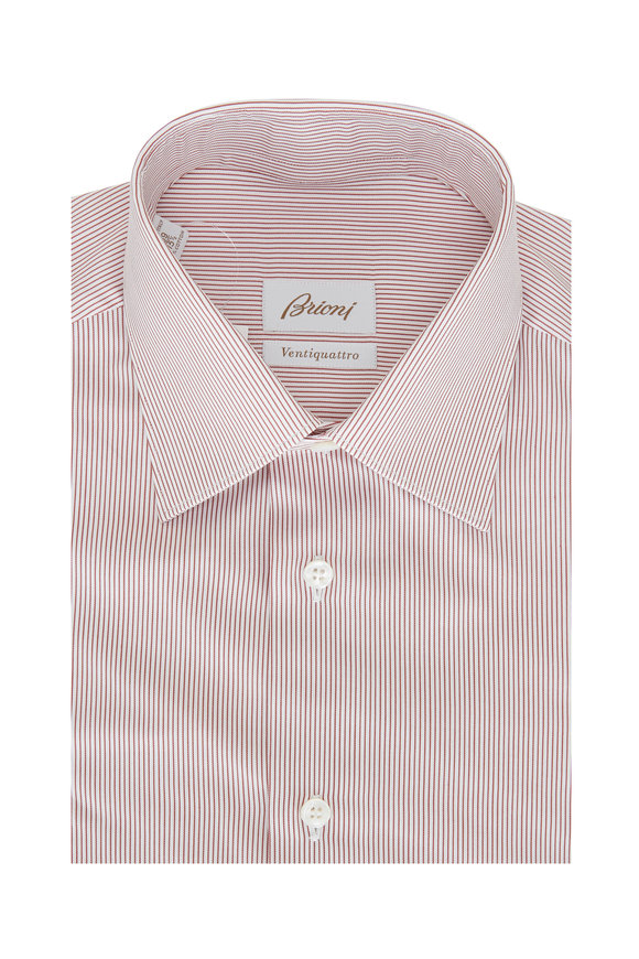 Brioni Red & White Striped Dress Shirt
