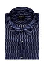 Ermenegildo Zegna - Navy Blue Geometric Classic Fit Sport Shirt