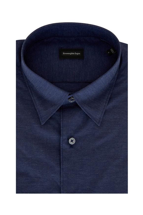 Ermenegildo Zegna Navy Blue Classic Fit Sport Shirt