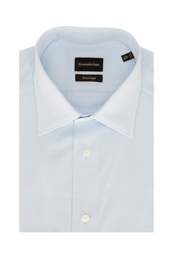 Ermenegildo Zegna Light Blue Tonal Striped Dress Shirt