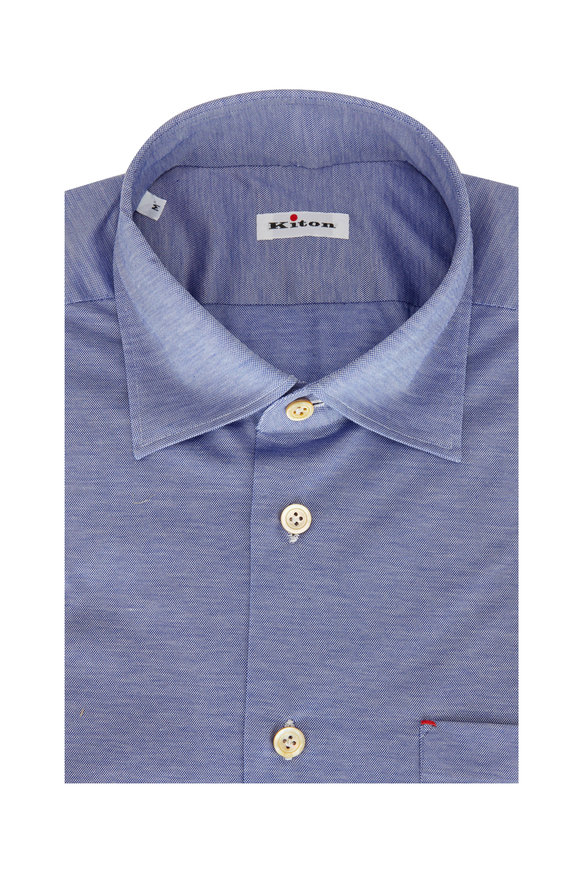 Kiton Light Blue Piqué Sport Shirt