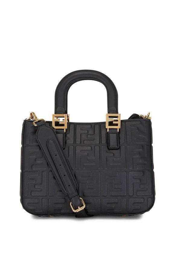 Fendi Small Black Leather Embossed Logo Tote