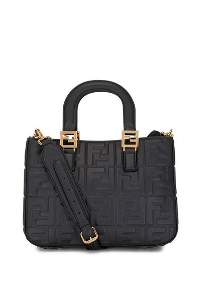 Fendi - Small Black Leather Embossed Logo Tote