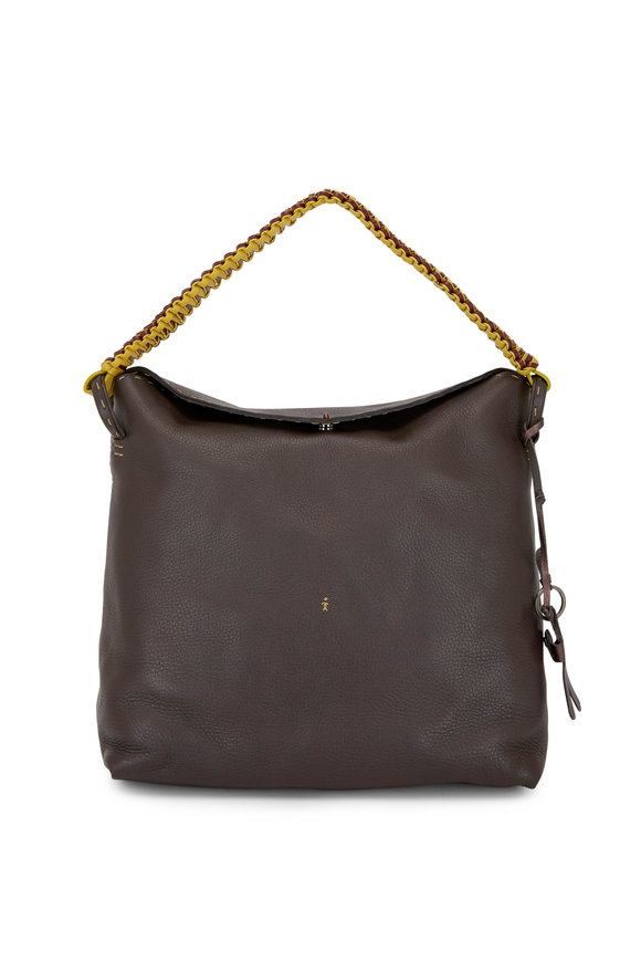 Henry Beguelin Isa Dark Clay Grained Leather Hobo Shopping Tote