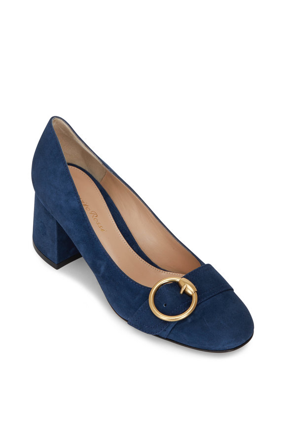 Gianvito Rossi Pamela Midnight Suede Buckle Loafer, 60mm