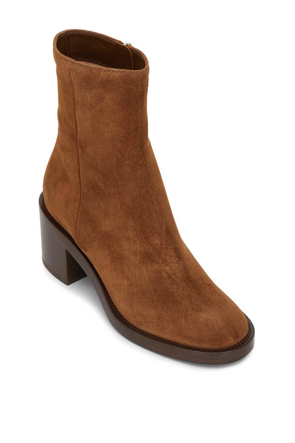 Gianvito Rossi Texas Cognac Suede Side Zip Bootie, 60mm