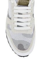 Valentino Garavani - White & Gray Camouflage Studded Knit Sneaker