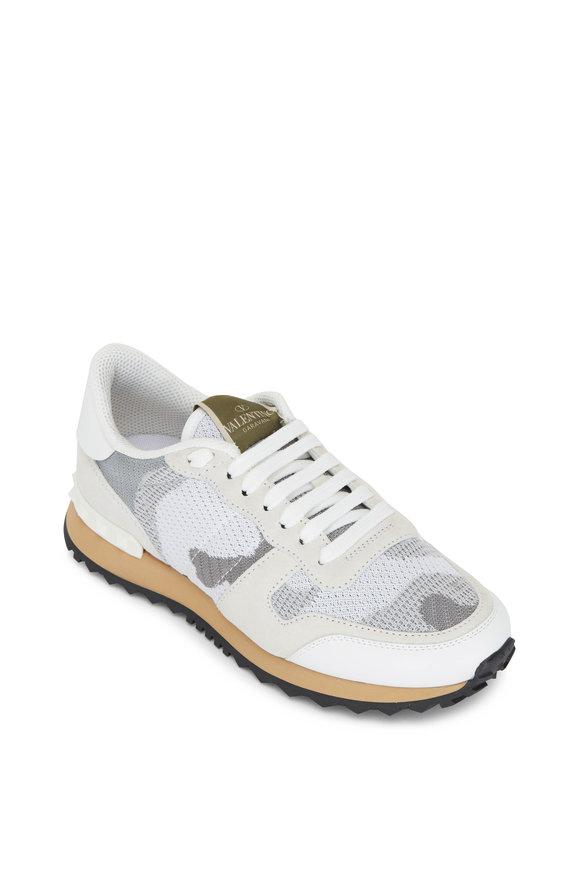 Valentino Garavani White & Gray Camouflage Studded Knit Sneaker