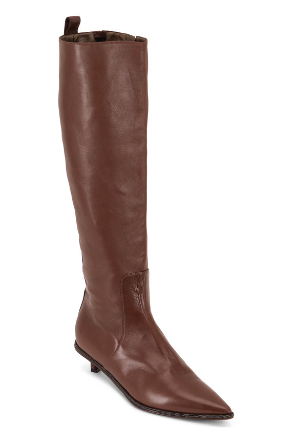 Light Brown Leather Monili Trim Boot, 30mm