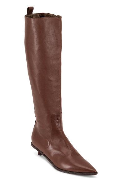 Brunello Cucinelli - Light Brown Leather Monili Trim Boot, 30mm