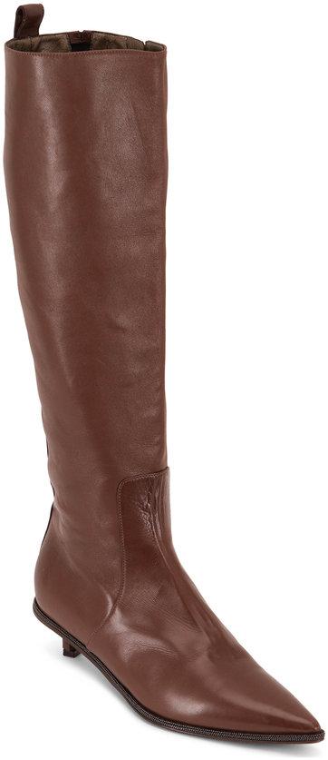 Brunello Cucinelli Light Brown Leather Monili Trim Boot, 30mm