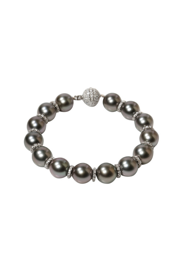 Assael Tahitian Pearl White Gold Diamond Bracelet