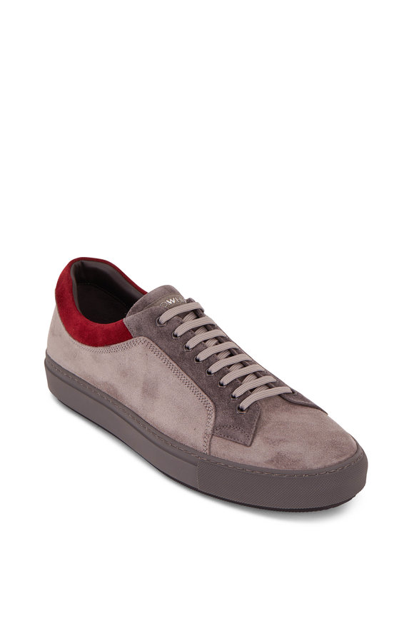 Lowhite Gray & Red Suede Sneaker