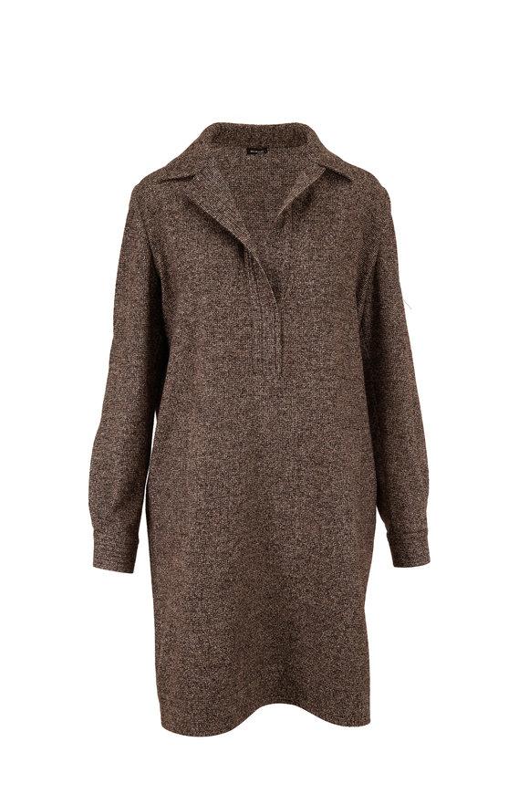 Kiton Brown & Cream Tweed Long Sleeve Shift Dress