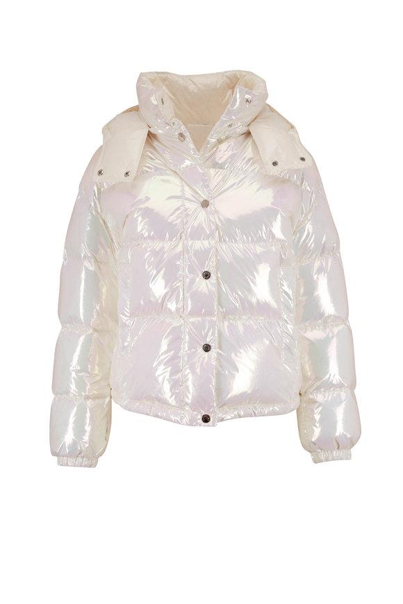 Moncler Daos Iridescent Crop Puffer Coat