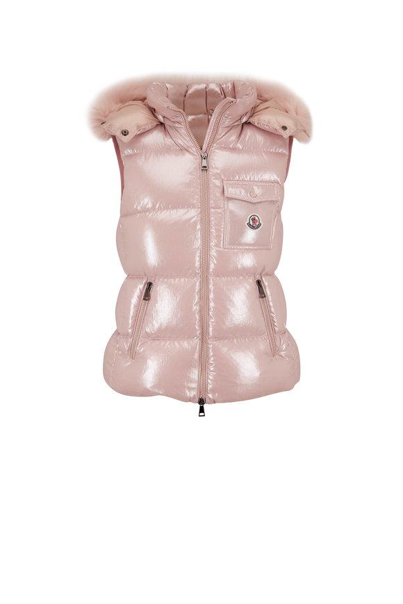 Moncler Balabio Gilet Pink Fur Trim Vest