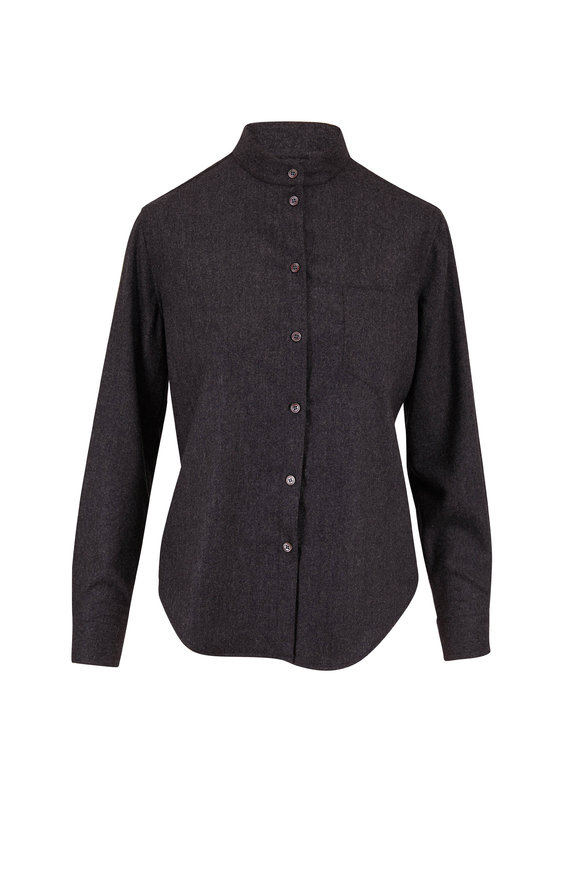 Giorgio Armani Charcoal Gray Stretch Flannel Button Down