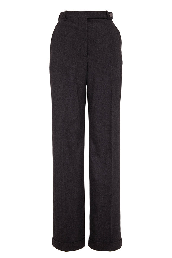 Giorgio Armani Charcoal Gray Flannel Straight Leg Pant