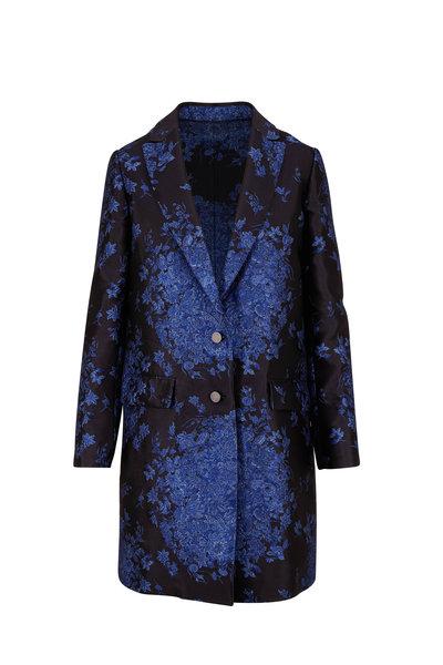 Valentino - Black & Blue Two Button Brocade Coat