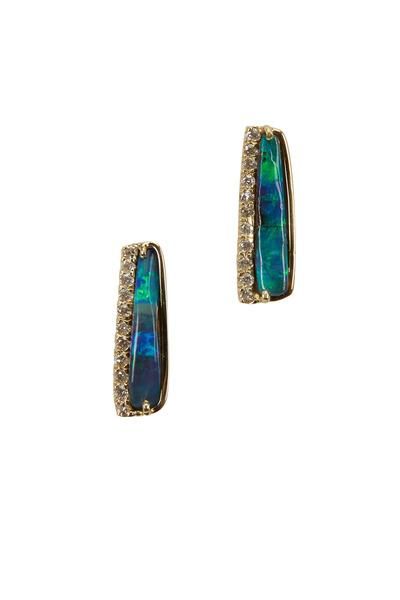 Kimberly McDonald - 18K Yellow Gold Opal & Diamond Stud Earrings