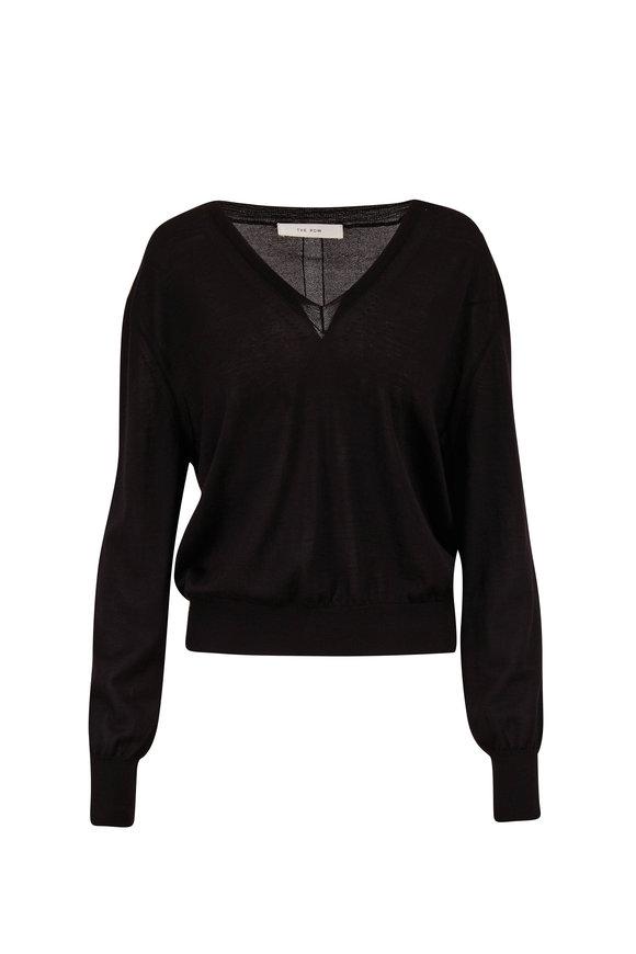 The Row Andrina Black V-Neck Long Sleeve Sweater