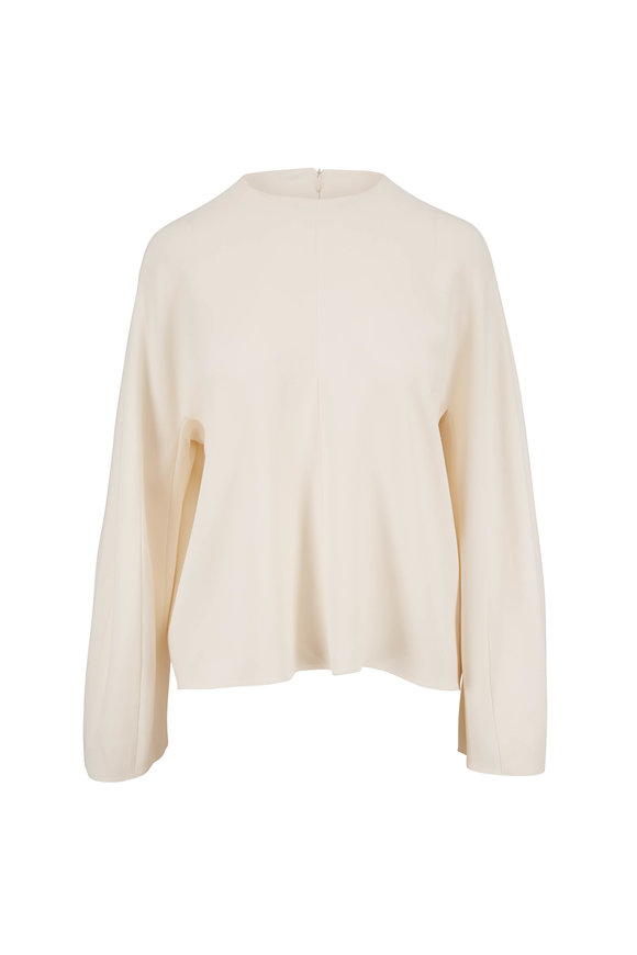 The Row Off White Crew Neck Flow Long Sleeve Top