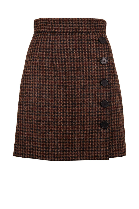 Dolce & Gabbana Brown Tweed Quadri Check Tartan Mini Skirt