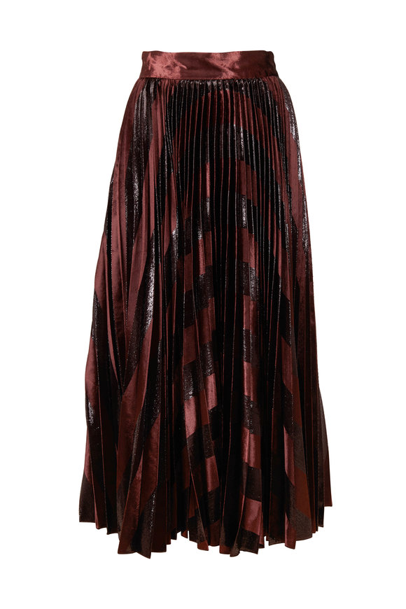 Dolce & Gabbana Dark Brown Metallic Velvet Pleated Skirt