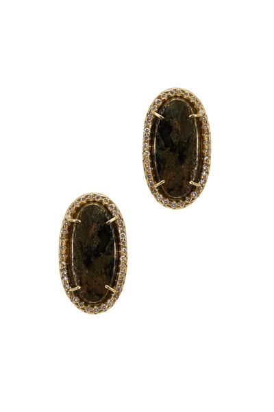 Kimberly McDonald - Yellow Gold Apache Tear Diamond Stud Earrings