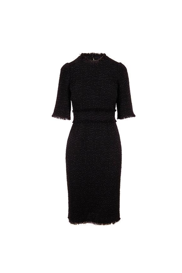 Dolce & Gabbana Black Fringe Trim Short Sleeve Dress