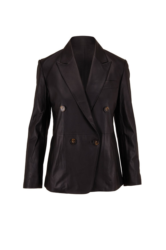 Vince Black Leather Double Breasted Blazer