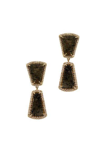Kimberly McDonald - Yellow Gold Graduated Apache Tear Diamond Earrings